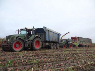 Loonbedrijf Arts uit Stevensbeek met een NH FR9080 in de maïs en groot materiaal. Foto's: J. Drost